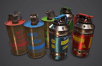 Grenade Pack: 3d models for unity asset store and unreal market. Made by Polysquid