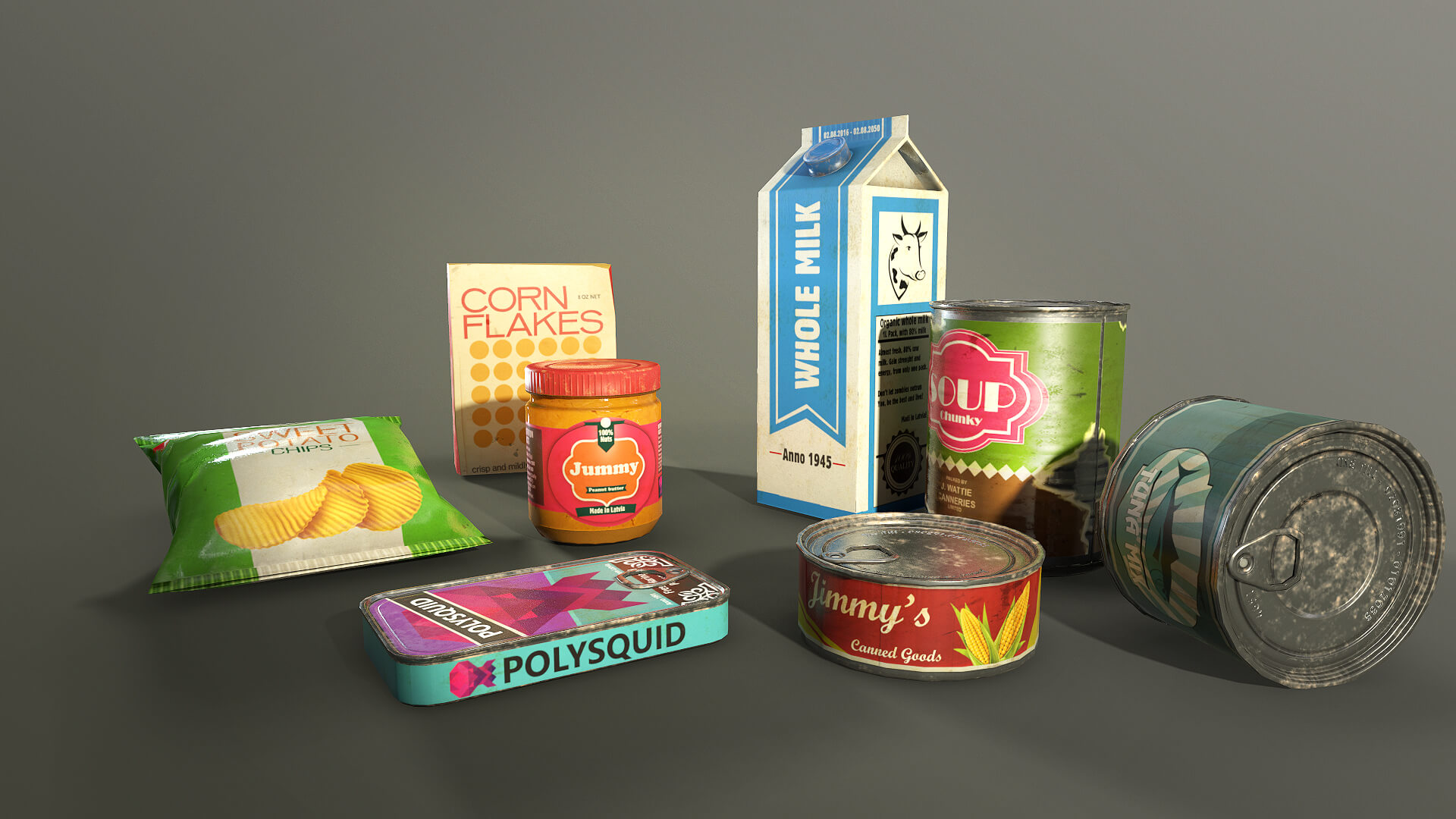 Survival Food Pack 3d models for unity and unreal engine - Polysquid